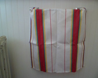 Vintage 1940s/50s Kitchen Dish Tea Towel Cloth ~ Primary Colors Stripes Unused