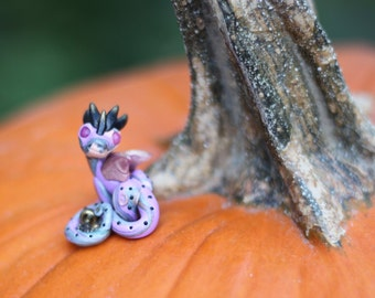 Lilly Gold, miniature dragon embellished with microbeads & vintage watch parts, handmade of polymer clay by Allison Muldoon/ChuckandStan
