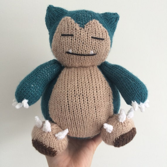 Snorlax pokemon knitting pattern plushie toy childrens soft toy amigurumi knit knitted pdf download