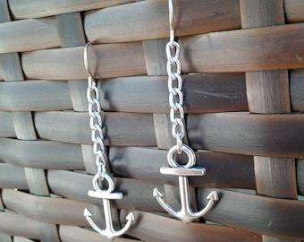 Anchor Earrings, Silver Anchor Charm Earrings, Chain Earrings, Nautical Earrings, Anchor Charms, Silver Charm Earrings, Silver Anchors