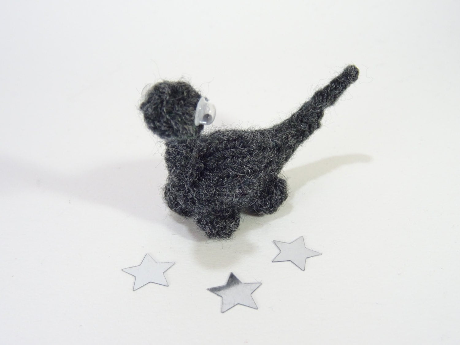 Mini Dinosaur Knitting Pattern : Dinosaur Cole Miniature Grey Knitted For her For him