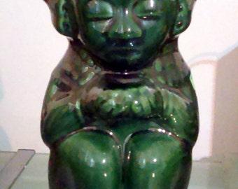 Vintage 1937 Handmade K&B Kahlua Mayan Tiki Deep Green Licor Bottle Ceramic Decanter