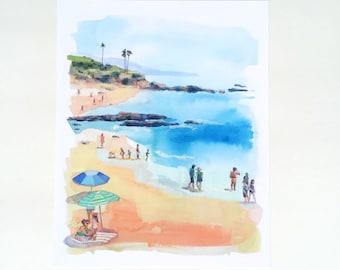 Sunday at Laguna Beach Print. Beach scene painting, watercolor, beach house art, california, beach watercolor palm trees southern california