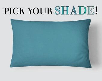 Blue Lumbar Pillow, Teal Bed Pillow, Turquoise Long Cushion, 14x20 Cushion Cover, Navy Blue Cushion, Aqua Pillow, Cushion and Insert
