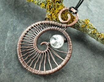 Pendant, pendant, wire work, copper spiral