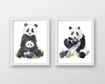 Watercolor Panda Art Print Set - Children's Wall Art - Nursery Art - Nursery Decor - Watercolor Art - Set of 2