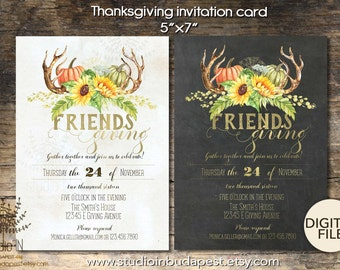 Friends giving Invitation, Friendsgiving Feast, Friends Giving Party, Thanksgiving for Friends, Rustic, Modern thanksgiving invitation