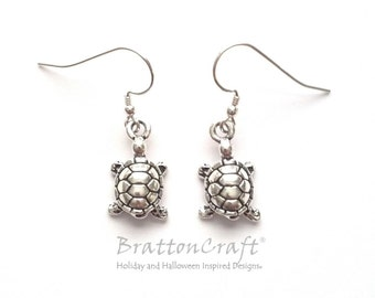 Silver Turtle Earrings - Turtle Earrings - Turtle Jewelry - Tortoise Earrings - Reptile Earrings - Stocking Stuffers - Epsteam
