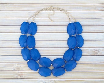 Royal Blue Statement Necklace, Large Bead Double Strand Layer Necklace, Multi Layered Statement Jewelry, Bib Collar Necklace Bridesmaid Gift