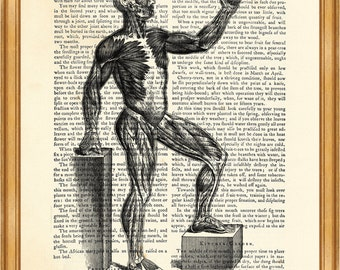 Anatomy Muscle Man, Vintage Anatomy Human Body Drawing DICTIONARY ART PRINT on Vintage Dictionary Page 8'' x 10'' from up-cycled book