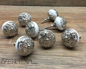 SET OF 8 White Ceramic Knob with Silver Filigree Overlay - Drawer Pull - Shabby Chic Home Decor