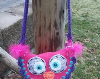 My First Purse, Little Girl's Purse, Owl Purse, Fleece Purse, Crochet Purse, Cross Body Bag, Owl Accessory, Valentines Day Gift, Easter Gift