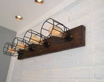 Wall Light - Wood Fixture - Wood Vanity Light - Flush Mount - Reclaimed Wood - Wall Fixture - Bathroom Light - Rustic Light - Barn Lighting