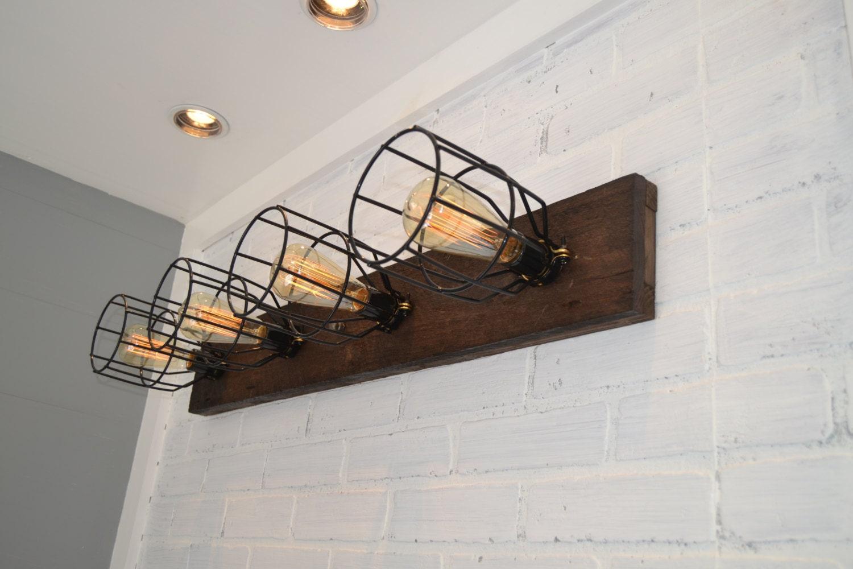 Wall light wood fixture wood vanity light flush mount for Rustic barn light fixtures