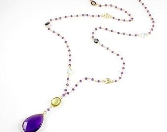Amethyst Quartz Pendant Necklace
