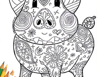 coloring page pig coloring page coloring pig farm coloring page animal pig - Zentangle Coloring Pages
