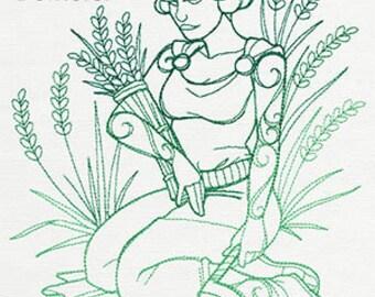 Demeter Cushion Cover Embroidered Pillow god goddess Greek mythology
