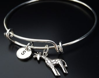 Giraffe Bangle Bracelet, Adjustable Expandable Bangle Bracelet, Giraffe Charm Bracelet, Giraffe Jewelry, Animal Jewelry, African Bracelet