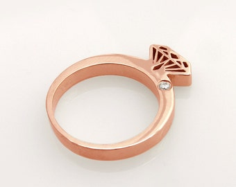 Rose Gold Diamond ring ,pink gold,14K solid gold diamond shaped ring with diamond.