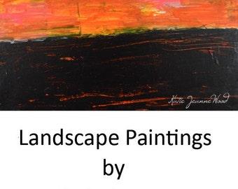 Orange Sunset Acrylic Landscape Painting. Dining Room Decor