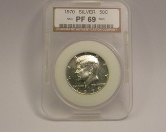 1970-S Kennedy half 1/2 dollar proof NAC graded pf 69 Free Shipping!