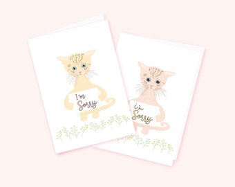 Printable I'm Sorry Card, Apology Card, Cute Cat, Kitten Card, Blank Card, Kitty Love,Digital Card, Illustrated Notecard, Diy Greeting Card