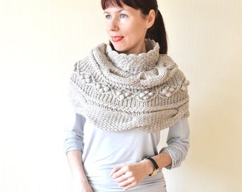 Knit capelet Handknit cowl Knit cowl Cable knit cowl Shawl cable Wedding capelet Shrug Neck warmer Knitted cowl  Poncho Wrap Valentines gift
