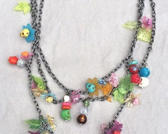 Flowers and Skulls Chain Necklace