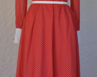 Red and White Polkadot floor length A line dress. 1960s dress.