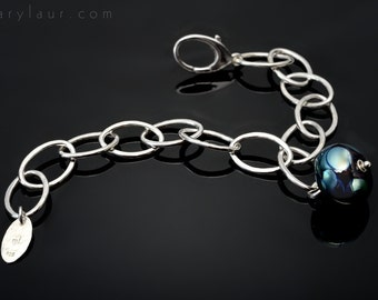 Marquise Chain Link Bracelet and Glass Charm