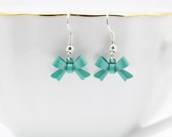 Aqua Bow Earrings, Ribbon Earrings, Cute Jewelry, Handmade Jewelry