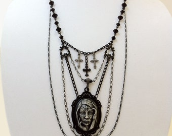 Living Dead Girl Cameo Necklace Day Of The Dead Gothic Zombie Horror Halloween Victorian Jewelry
