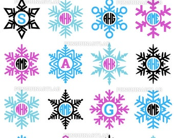Winter Snowflakes Monogram Frames - Christmas Cut Files for Vinyl Cutting Machines, Cricut, Silhouette, Svg, Dxf, Eps, Png, Studio3