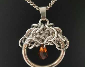 Chainmaille Moondrop Pendant -  Amber Color Swarovski