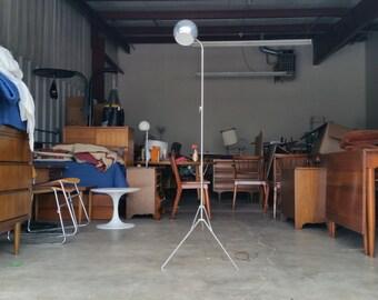 Vintage 1970's Chrome Eyeball Floor Lamp Mid Century Modern Tripod Base Adjustable Compact Space Age MCM