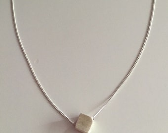 Minimal cube necklace, 3D cube, sterling silver, brushed silver