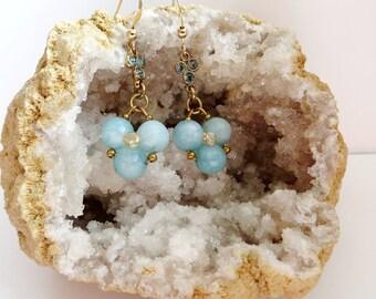 aquamarine earrings blue dangle earrings gold filled earrings minimalist earrings aquamarine jewelry gemstone earrings