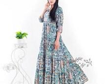 Fresh summer cotton maxi dress  plus size dress plus size tops plus size clothing summer clothing spring dress B0031