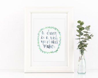 A Dream Is a Wish Your Heart Makes Handlettered Nursery Quote Print