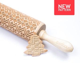 Scandinavian pattern - Embosing rolling pin for cookies, unique christmas gift