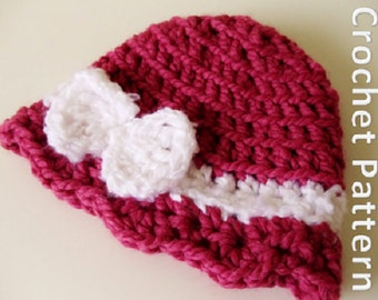 Crochet Hat Pattern - Girl's Scallop Hat with Bow