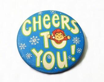 Cheers to You Vintage 1980 Hallmark Pinback Button Blue Snowflake Winter Holiday Celebration Pin