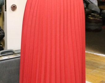 Vintage Pleated Pink Salmon Skirt with Elasticated Waist Size 14
