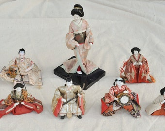 Collection of Seven Vintage Japanese Dolls