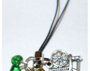 Spinning Wheel with 5 Tiny Hearts Phone or Key Charm