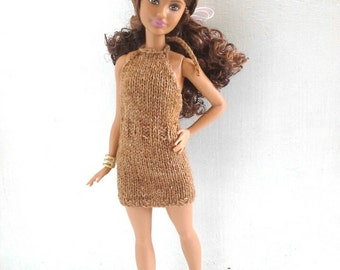Short knitted dress for Petite Barbie, Barbie clothes, Barbie dress