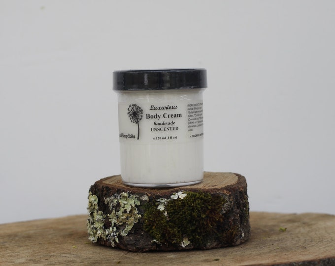 Body Cream, Unscented, ORGANIC Ingredients with Mango Butter