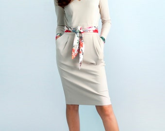White dress Jersey dress Long sleeves Autumn dress