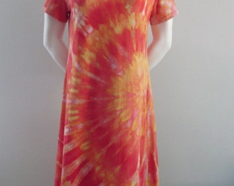 Snow Dyed Size Medium Mid-Length Cotton Dress with Sleeves: Orange and Yellow Sunset Swirl