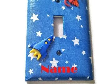 Personalized Space Rocket Light Switch, Space nursery, Space room decor, Boys Nursery, Rocket Ship, Kids Room, Baby Boy, Space Wall Decor